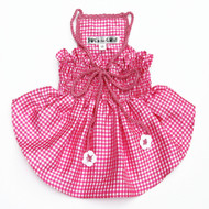 The Lanna Collection - Pink Checked Silk Dress with Crochet Trim