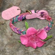 Multicolor Pink Leather Dog Collar with Hot Pink Flower Attachment