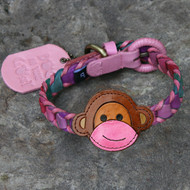 Multicolor Pink Leather Dog Collar with Monkey Attachment