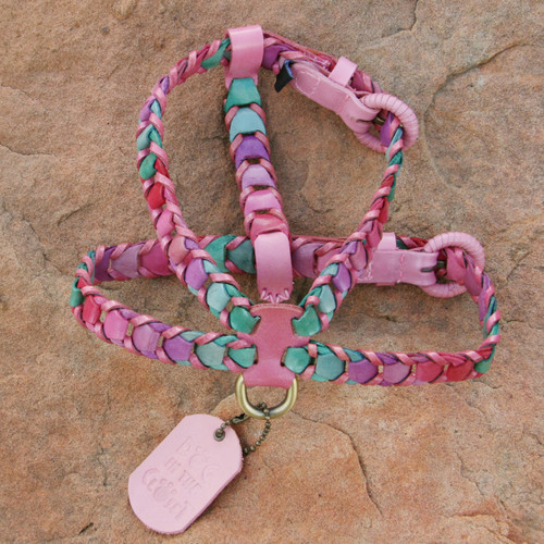 Multicolor Pink Leather Dog Harness