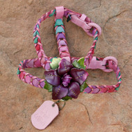 Multicolor Pink Leather Dog Harness with Purple Flower Attachment