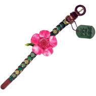 Shades of Green Leather Dog Collar with Hot Pink Flower Attachment