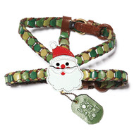 Shades of Green Leather Harness with Santa Attachment