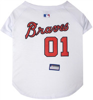 Atlanta Braves Dog Jersey - White