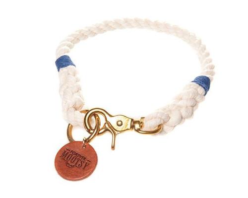 Natural White Dog Collar - Navy Blue Hemp Twine