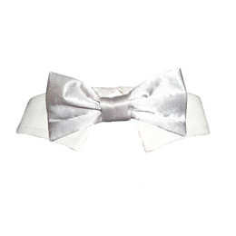 Pooch Outfitters Silver Satin Bow Tie