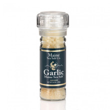 Maine Natural Sea Salt, and Roasted Garlic, shown in a 3.6 oz grinder. Maine Sea Salt & Garlic is a natural Atlantic salt, the roasted garlic is granulated and fresh dried. My salt grinder is refillable and recyclable.