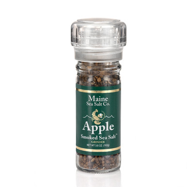 Buy Apple Smoked Maine Natural Sea Salt, shown in a 3.6 oz glass grinder. Use for cooking, seasoning, at the table. Apple Smoked Maine Sea Salt. Smoked over a Apple wood fire for a clean smoky taste.