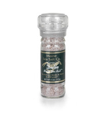 Dulse Seaweed and Maine Natural Sea Salt, shown in a 3.6 oz glass grinder. Use for cooking, seasoning, at the table. Dulse Seaweed is rich in Iodine and trace minerals. The salt grinder is refillable and recyclable.