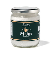 Maine Natural Sea Salt Coarse 14 Ounce, Sea Salt. Is a wide mouth glassd jar. Consumer friendly, recyclable. Our Natural Maine Sea Salt in a easy storage jar for the kitchen. A great value! Use  by the pinch, good for cooking, at the table. Not fine enough or dry enough for a salt shaker, nor coarse enough for a grinder or salt mill.