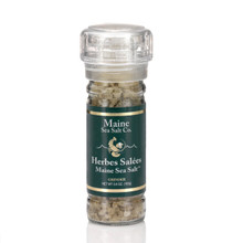 Herbs and Salt in a 3.6 oz grinder.The Salted Herbs is a mixture of five Herbs, Maine Sea Salt, Thyme, Sage, Marjoram, and Lavender.