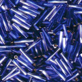2.7 x 12mm Twisted Bugles, Silver-Lined Cobalt Blue
