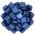 2-Hole CzechMates Tile Beads - 6mm - Blue Metallic Suede (25)