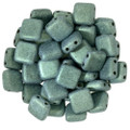 2-Hole CzechMates Tile Beads - 6mm - Light Green Metallic Suede (25)