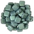 2-Hole CzechMates Tile Beads, Light Green Metallic Suede