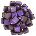 2-Hole CzechMates Tile Beads - 6mm - Black Currant (25)