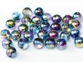4mm Glass Round Beads (Druks), Magic Blue