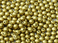 4mm Glass Round Beads (Druks), Metallic Olivine