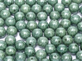 3mm Round Glass Beads,  Chalk White Teal Luster (Qty: 50)