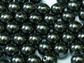 4mm Round Glass Beads, Hematite (Qty: 50)