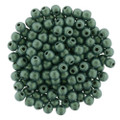 3mm Glass Round Beads, Light Green Metallic Suede