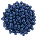2mm Round Glass Beads - Blue Metallic Suede (50)