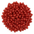 2mm Round Glass Beads, Opaque Red