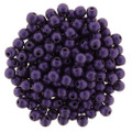2mm Round Glass Beads, Purple Metallic Suede