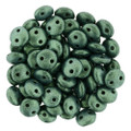 2-Hole Lentils 6mm, Lt. Green Metallic Suede (50)