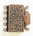 Box Clasp, 5-Strand, 23x21mm, Vintage Look Brass (C82)