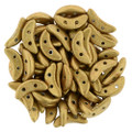 CzechMates Crescent Beads, Metallic Gold