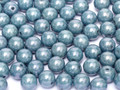 6mm Glass Round Beads, Baby Blue Luster