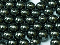 6mm Round Glass Beads, Hematite (Qty: 25)