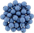 6mm Glass Round Beads, Blue Metallic Suede