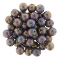 6mm Glass Round Beads (Druks) - Opaque Bronzed Smoke Luster (25)