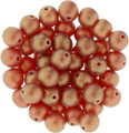 6mm Glass Round Beads, Sueded Gold Ruby