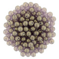 4mm Glass Round Beads (Druks) - Sueded Gold Amethyst (50)