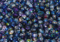 6mm Glass Round Beads (Druks), Magic Blue