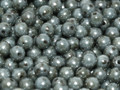 3mm Glass Round Beads, Chalk White Blue Luster