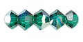4mm Swarovski Bicones, Emerald AB