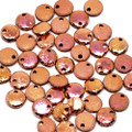 1-Hole Lentil, 6mm, Etched Crystal Full Capri Rose (50)