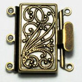 Box Clasp - 3 Strand - 23 x 21mm - Antique Brass (C181)