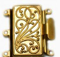 Box Clasp - 3 Strand - 23 x 21mm - Gold Tone (C182)
