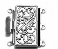 Box Clasp - 3 Strand - 23 x 21mm - Silver Plated (C182)