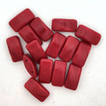 Carrier Beads, Czech Glass, 2-hole, Red (Qty. 15)