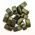 Carrier Beads, Czech Glass, 2-hole, Metallic Green (Qty. 15)