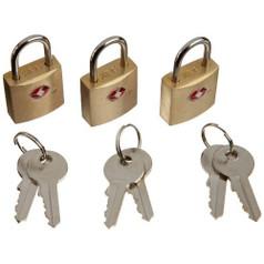Lewis N Clark TSA Keylock - Mini Padlock, Brass Square (3 Pack)