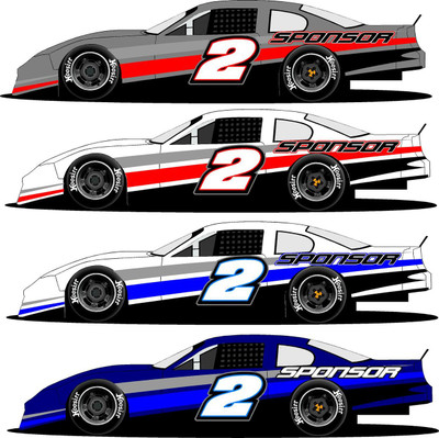 Side half wrap 2 late model super stock truck for Race car graphic design templates