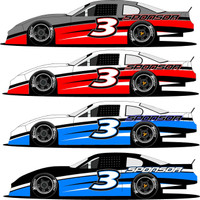 Half Wrap 3 late model racing graphics