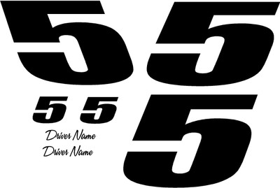 Racing Graphics One Color One Digit Vinyl Decal Kit Race Cars